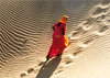 "Greeting card ""Girl in the Khuri dunes in the Thar Desert, India"""