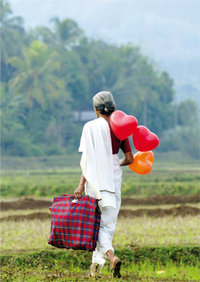 "Greeting card ""Indian small farmer on rice paddy"""